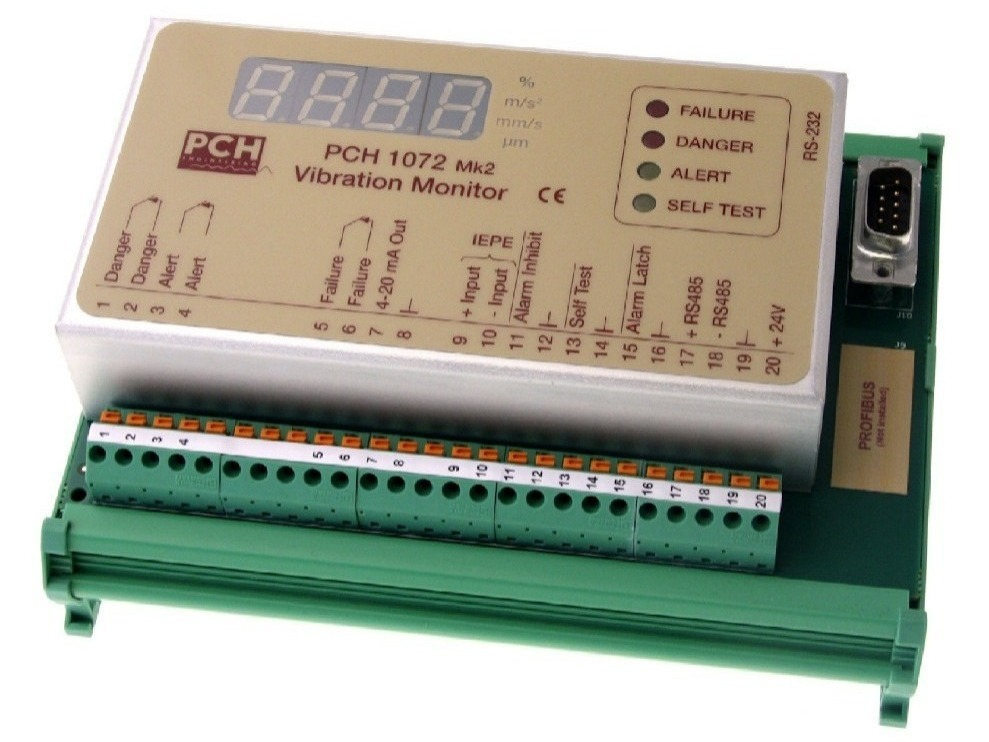 PCH 1072 IoT-ready 1-channel vibration monitor with 2 relays